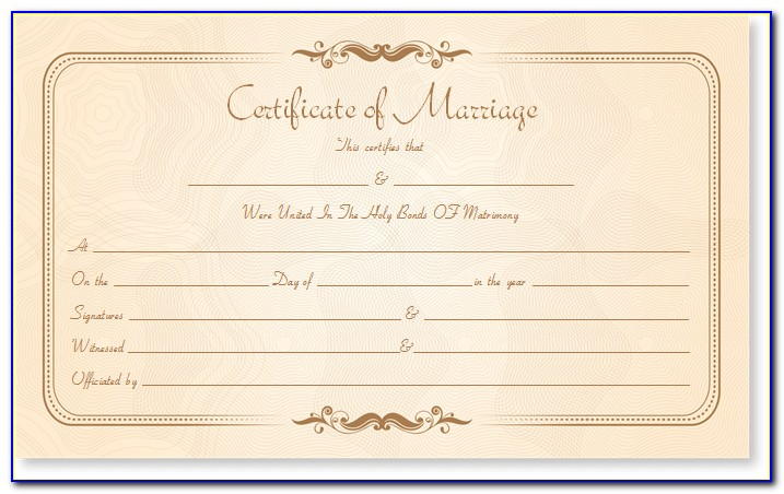 Marriage Certificate Template India