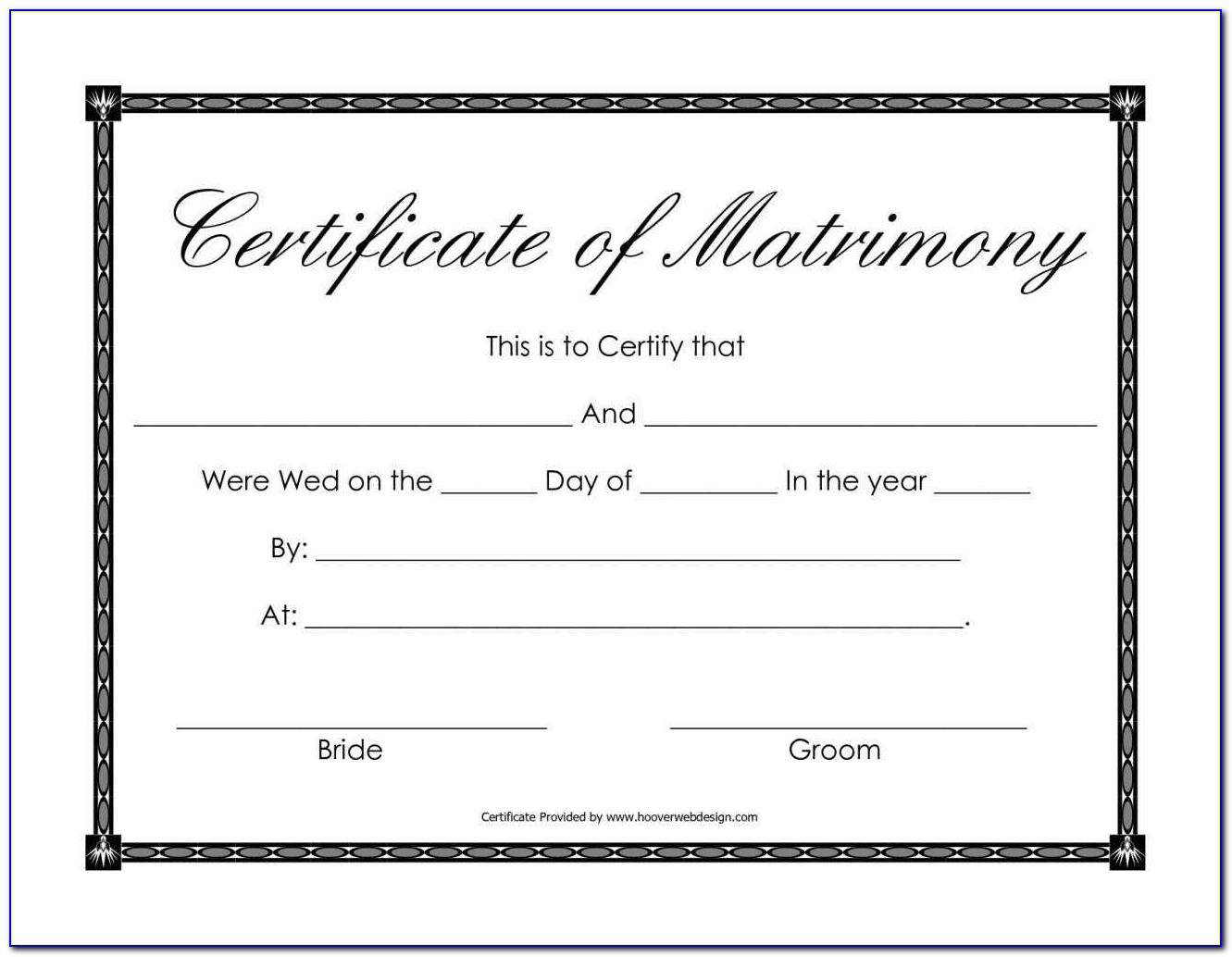 Marriage Certificate Free Template