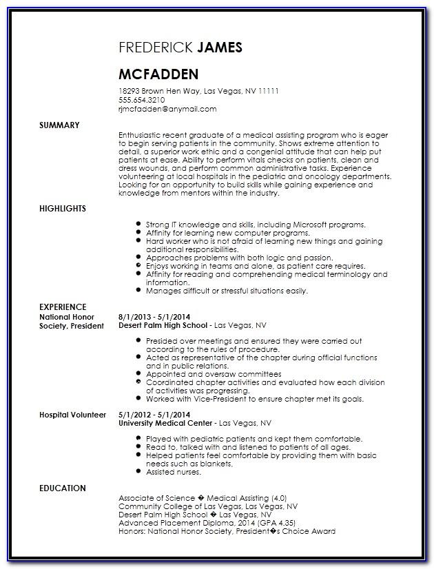 Medical Assistant Resume Template Download