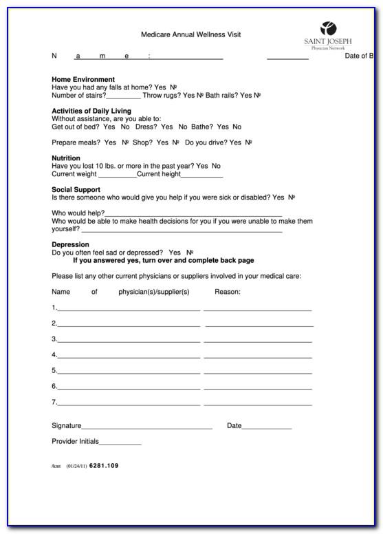 Medicare Annual Wellness Visit Documentation Template