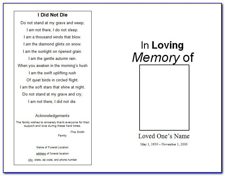 Memorial Service Program Template Publisher