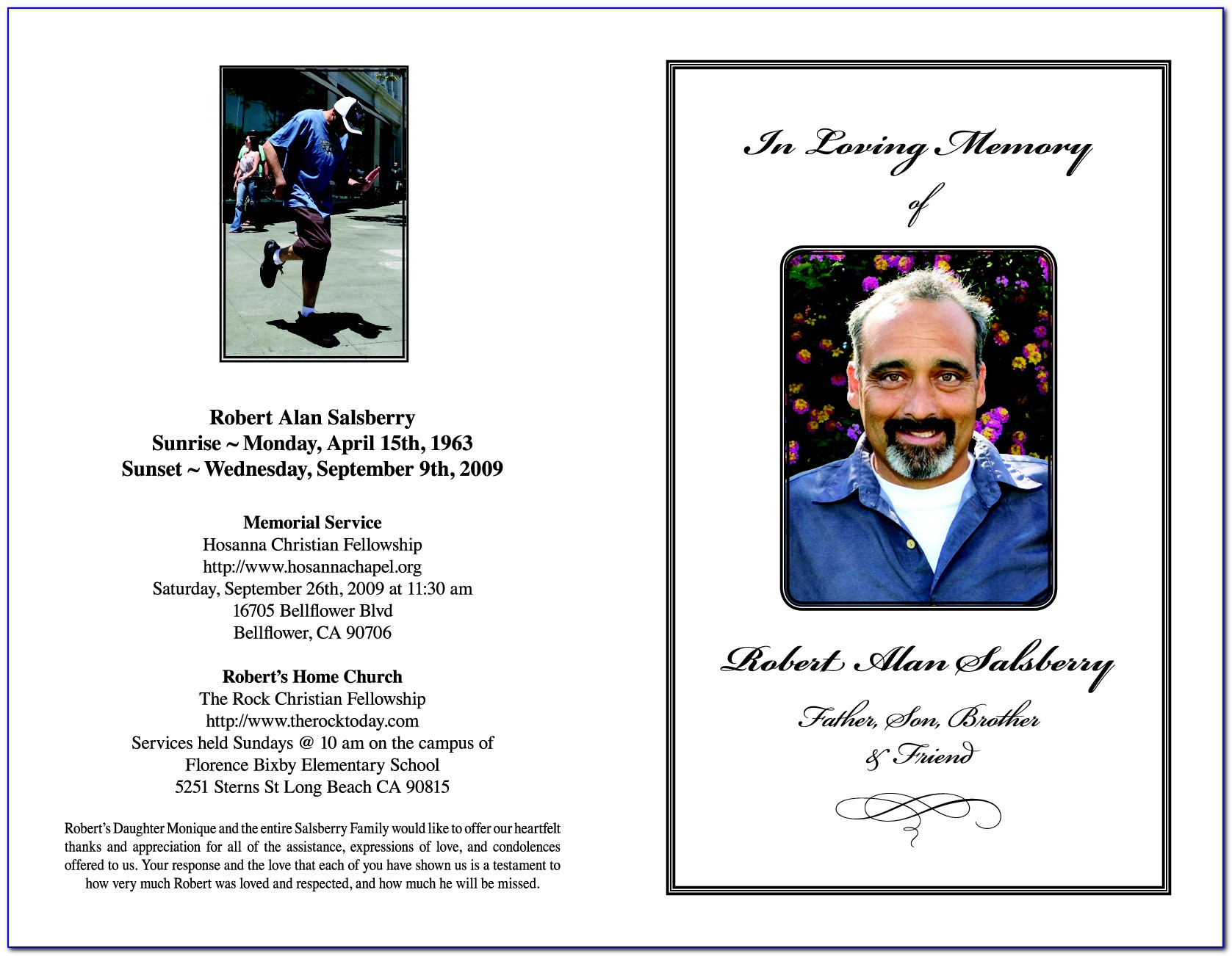 Memorial Service Program Template Word