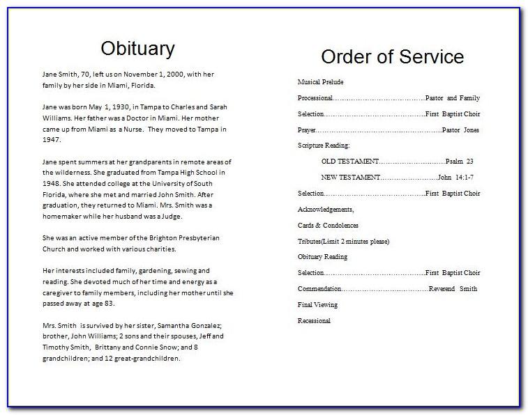 Memorial Service Template Download
