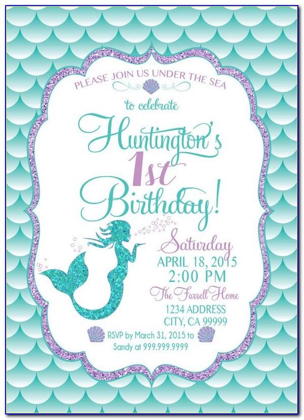 Mermaid Birthday Invitation Templates Free