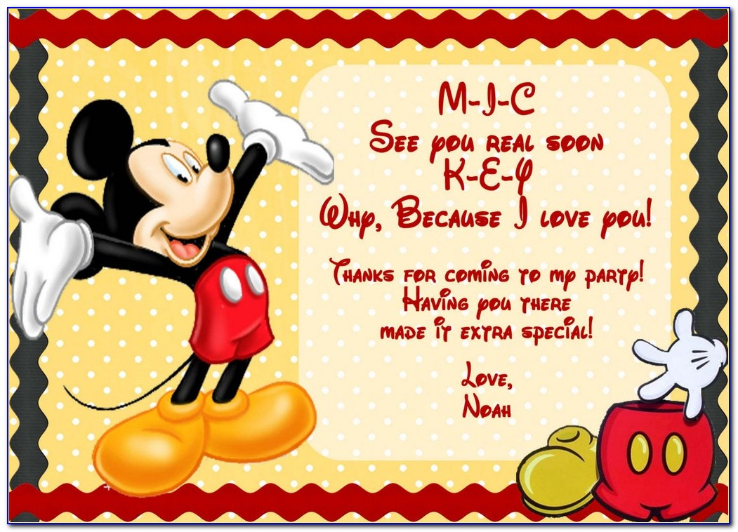 Mickey And Minnie Mouse Invitation Template Free