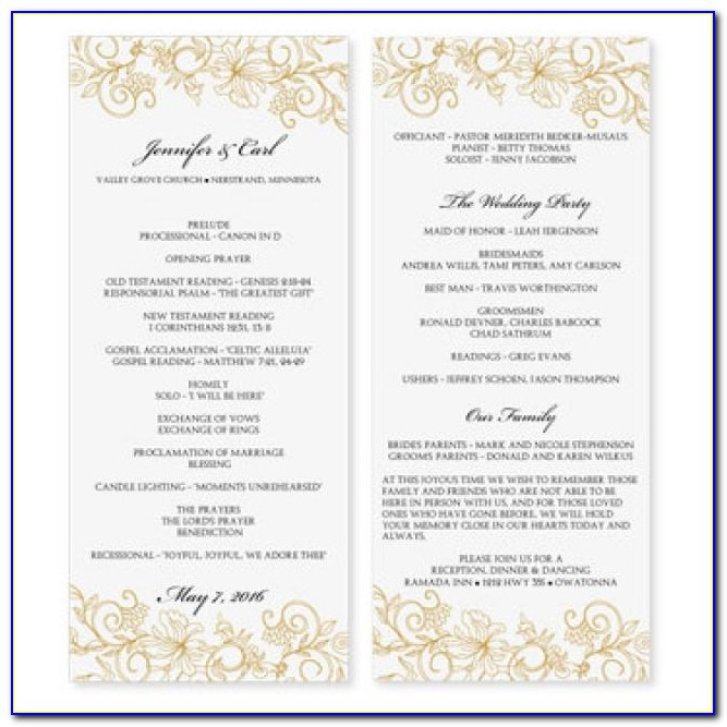 Microsoft Word Wedding Program Template Catholic
