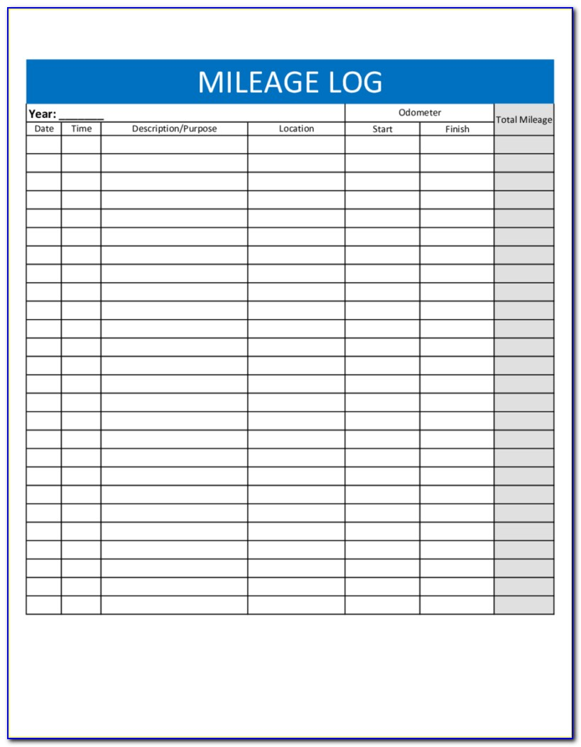 Mileage Log Template For Self Employed