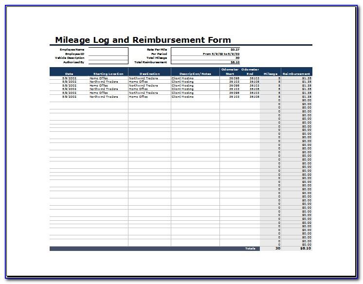 Mileage Reimbursement Template Excel