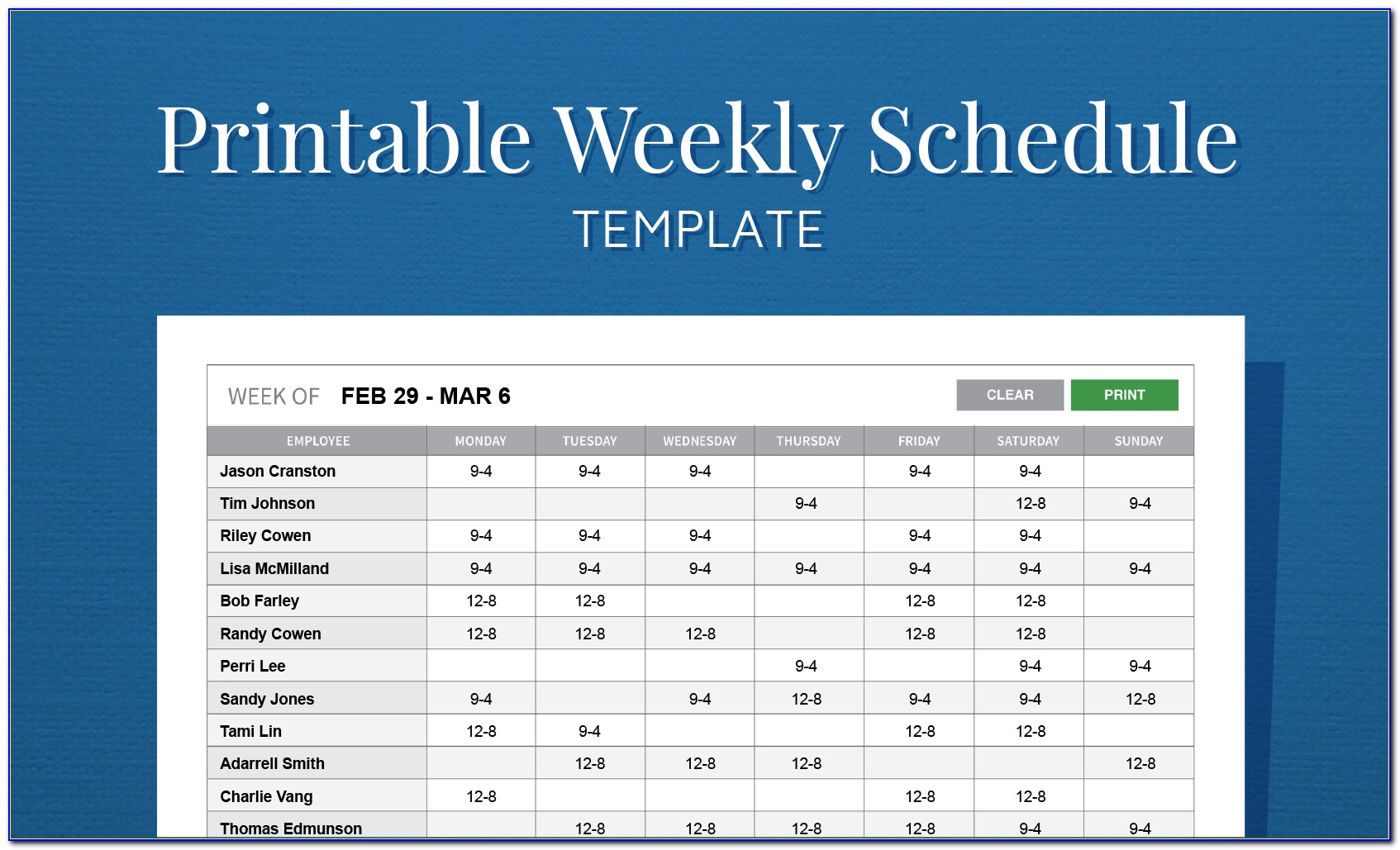 Monthly Employee Schedule Template Google Sheets