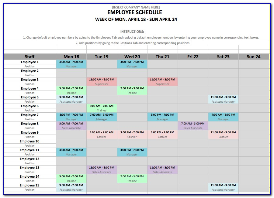 Monthly Employee Shift Schedule Template Excel (2)