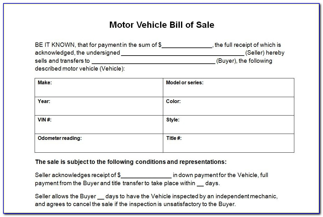 Ms Word Bill Of Sale For Car Template Software
