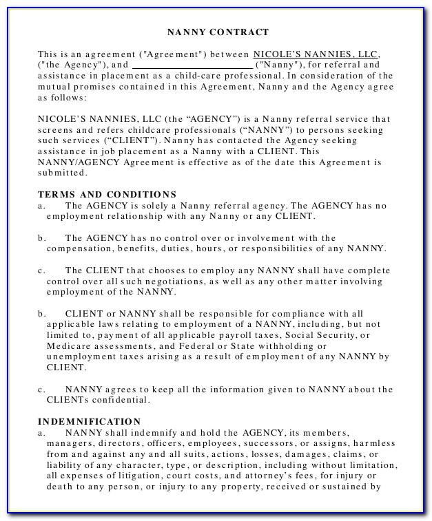 Nanny Contract Template California