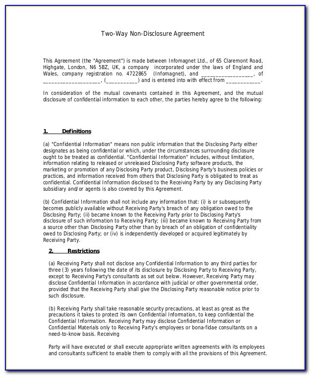 Nda Agreement Template Word Uk