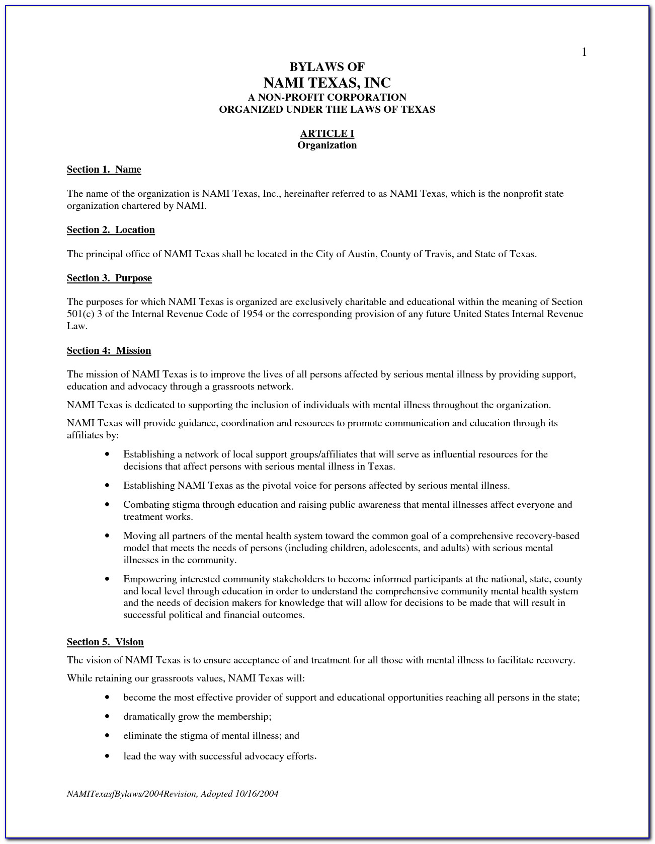 Nonprofit Bylaws Template California