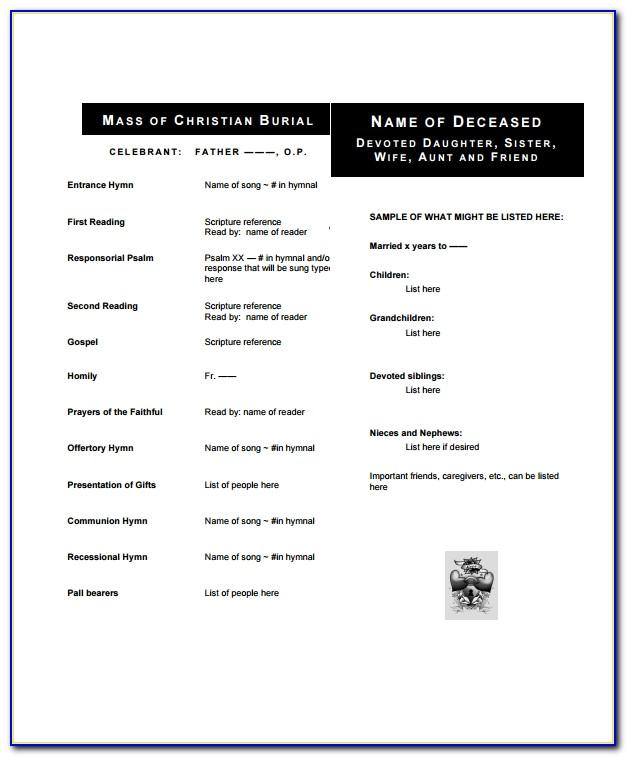 Obituary Program Samples