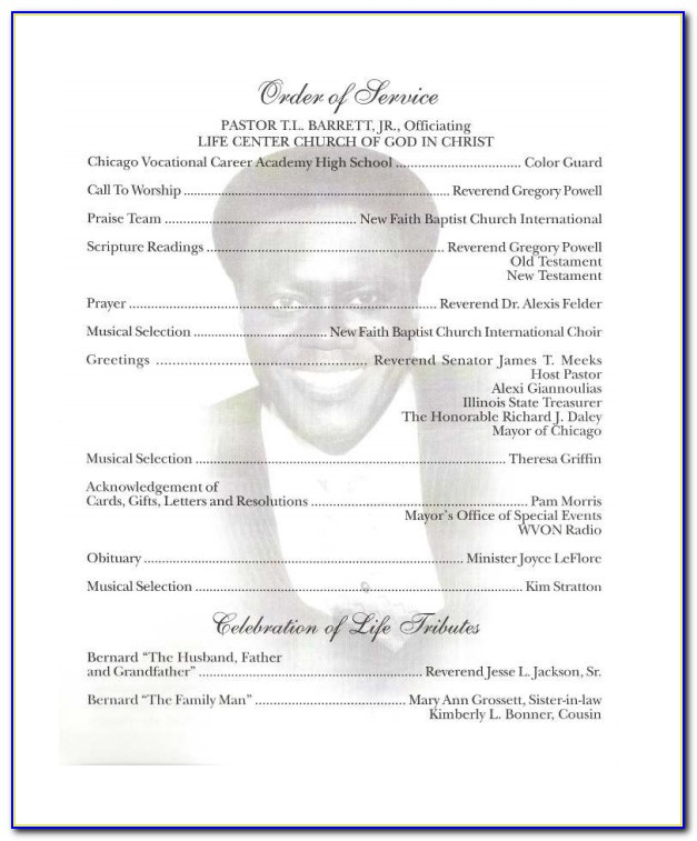 Obituary Program Template Download