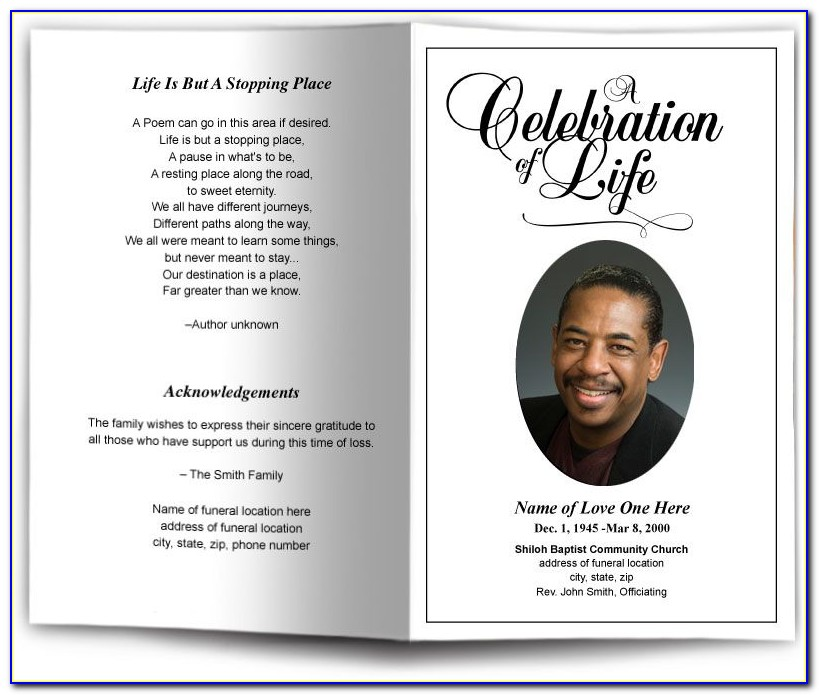 Obituary Program Template Microsoft Word
