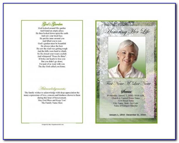 Obituary Program Template Pdf