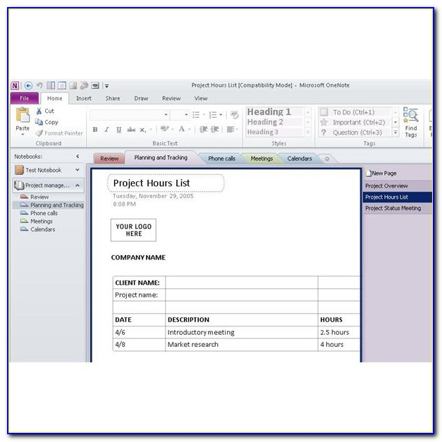 Onenote Project Management Template Download