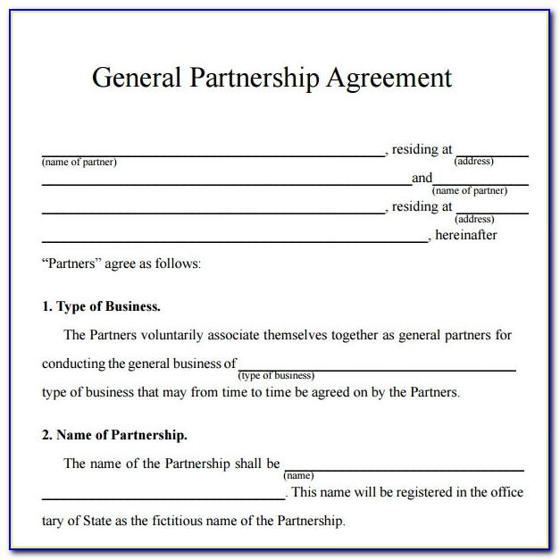 Partnership Agreement Sample Word