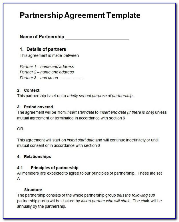 Partnership Agreement Template Word Free