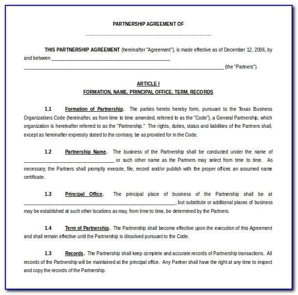 Partnership Agreement Template Word India