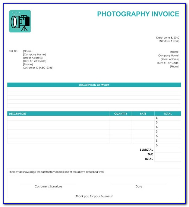Photography Invoice Template Excel