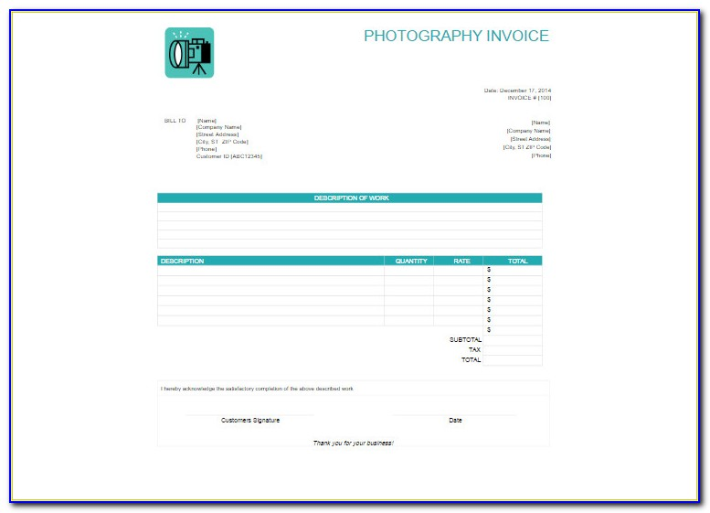 Photography Invoice Template Google Docs
