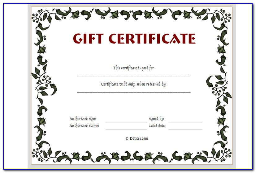 Printable Gift Certificate Templates Free