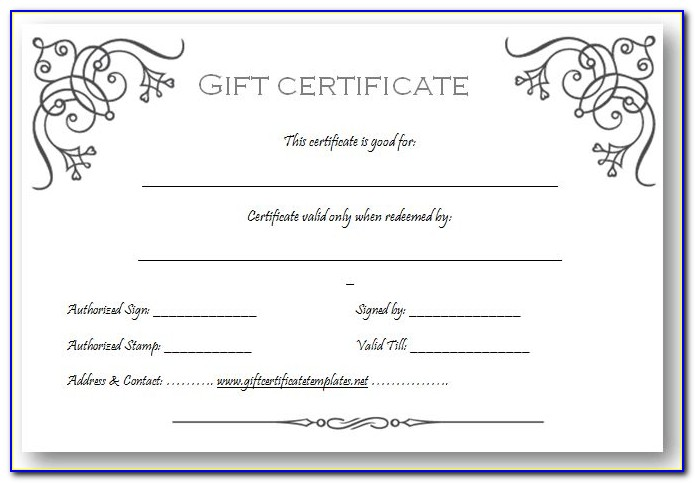 Printable Gift Certificates Templates Free Birthday
