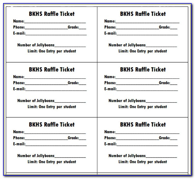 Printable Raffle Ticket Template With Numbers