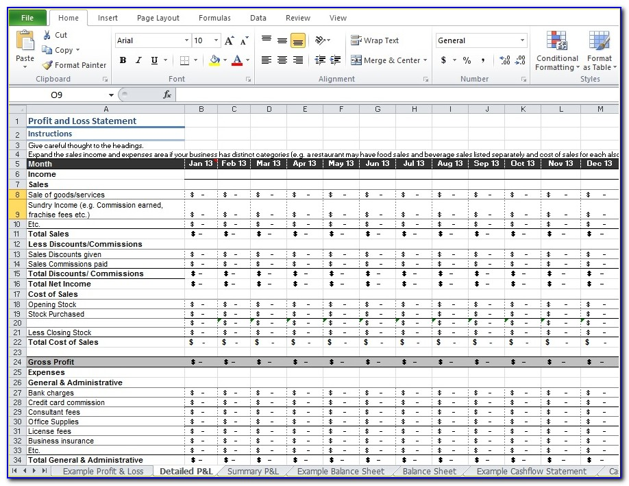 Profit And Loss Statement Excel Sample