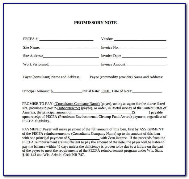 Promissory Note Template Uk Pdf
