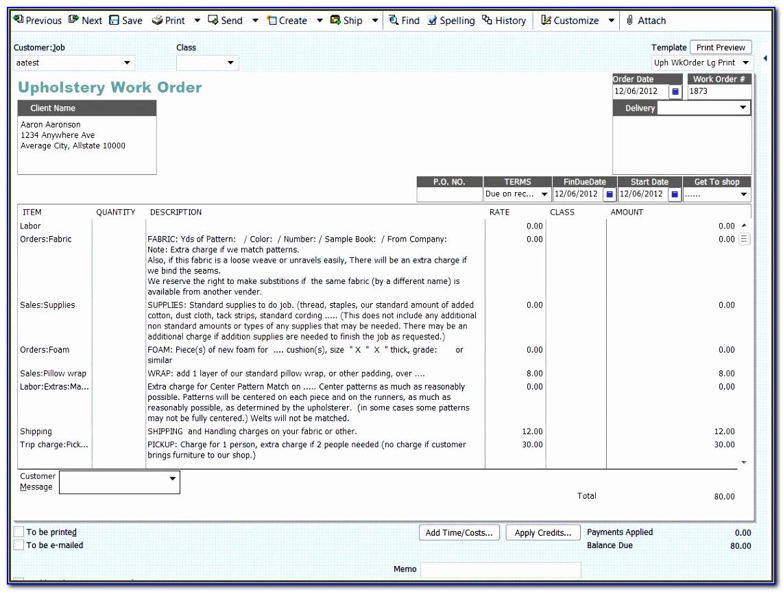 Repairing Work Estimate Template Klesa Best Of Work Orders In Quickbooks Upholstery Resource
