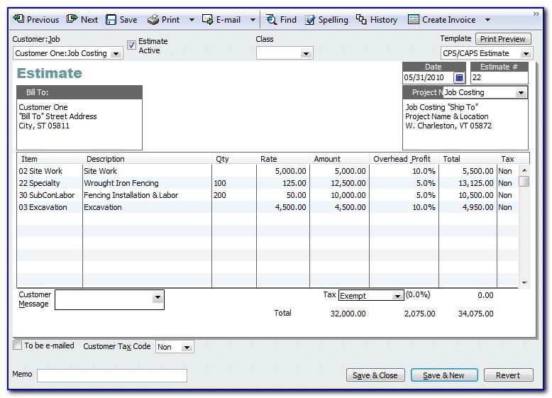 Quickbooks Edit Estimate Template