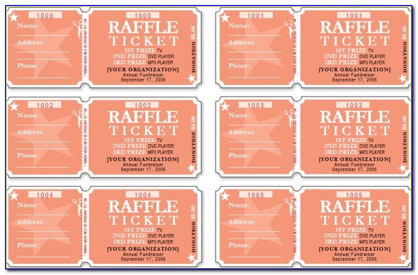 Raffle Ticket Template Word 8 Per Page
