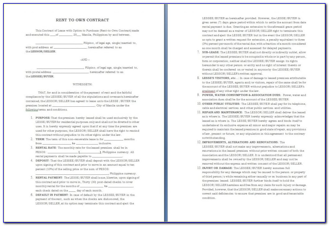 Rent To Own Contract Template Oklahoma