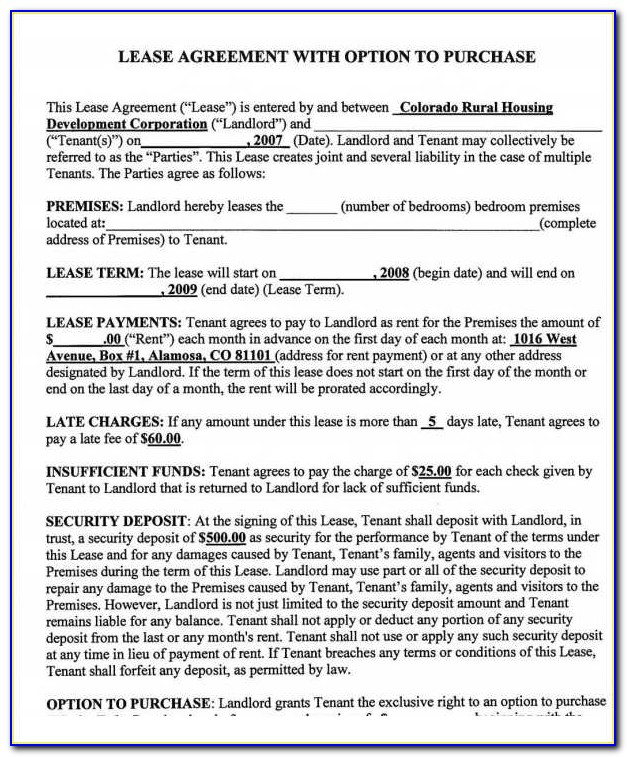 Rent To Own Contract Template Pdf