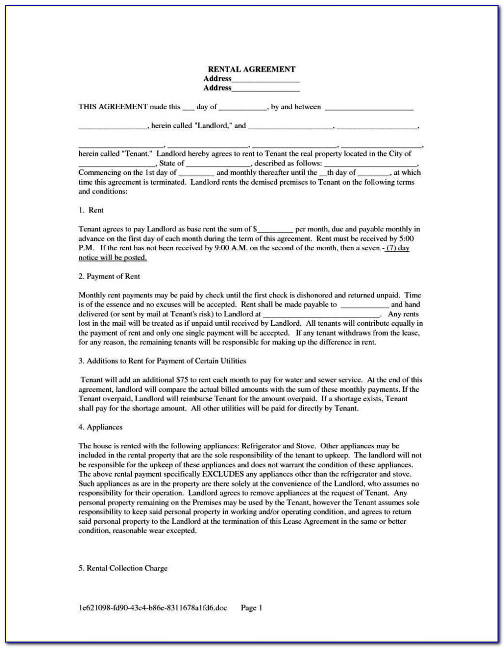 Rent To Own Lease Agreement Template Free