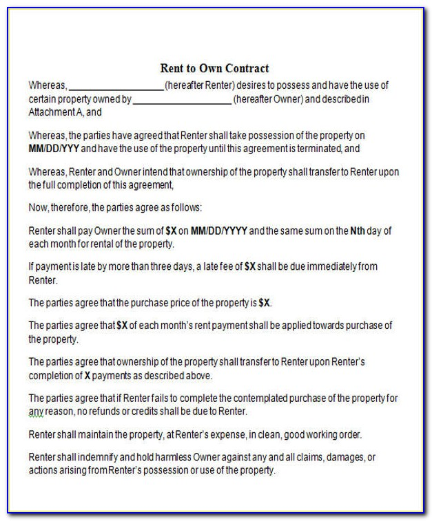 Rent To Own Contract Template Texas