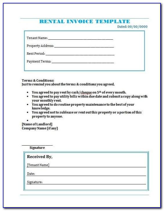 Rental Invoice Template Doc