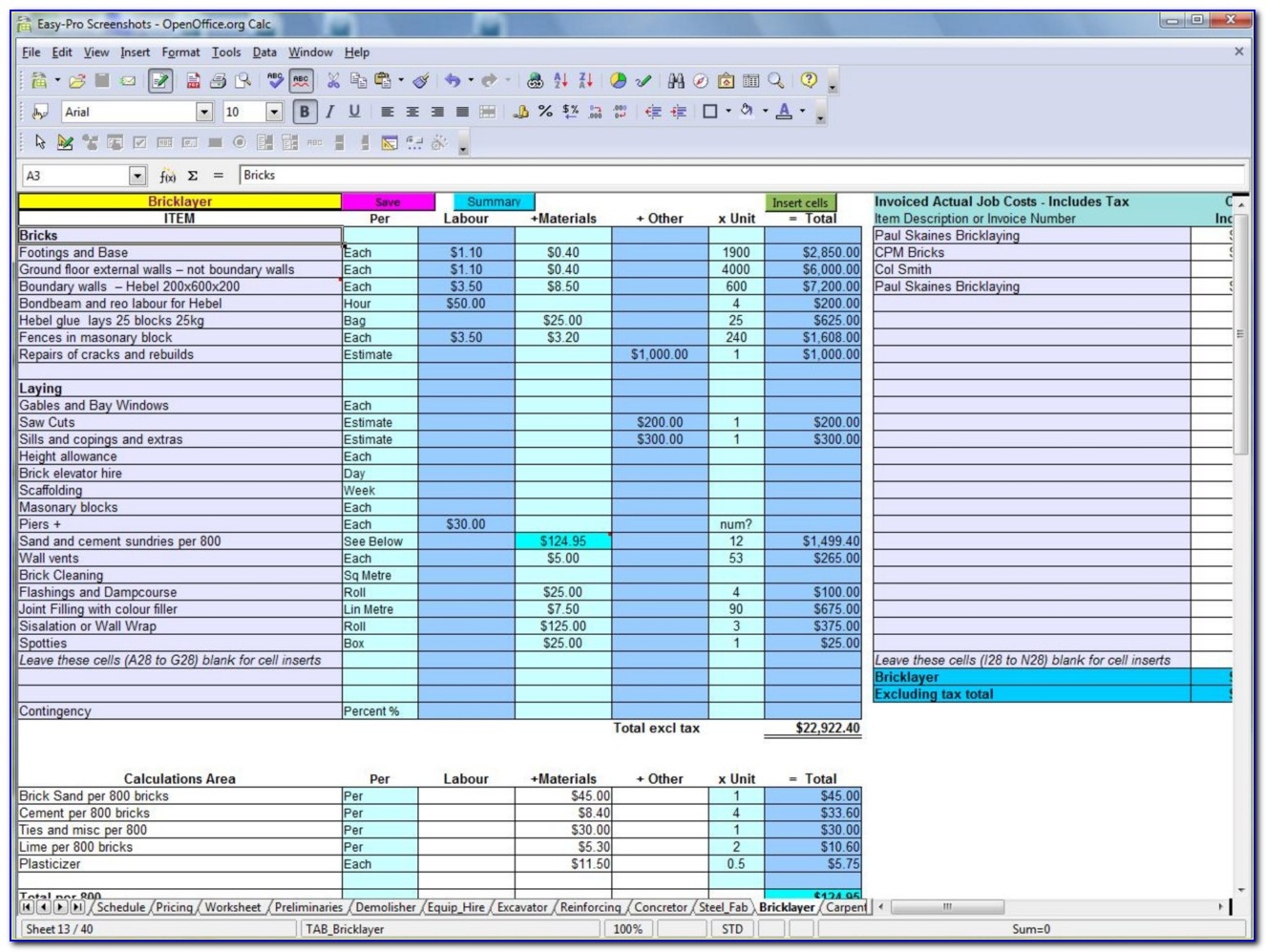 Residential Construction Budget Template Excel Free