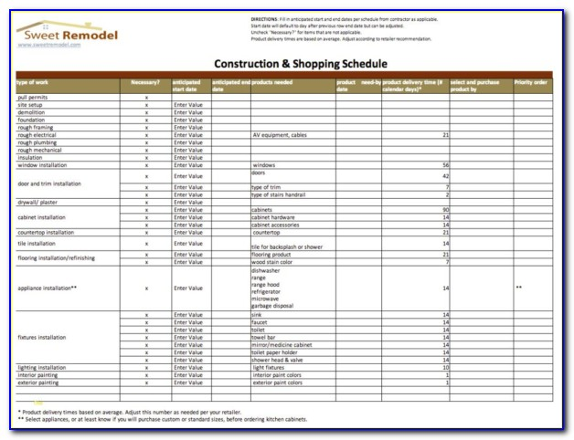 Residential Construction Budget Template Excel India