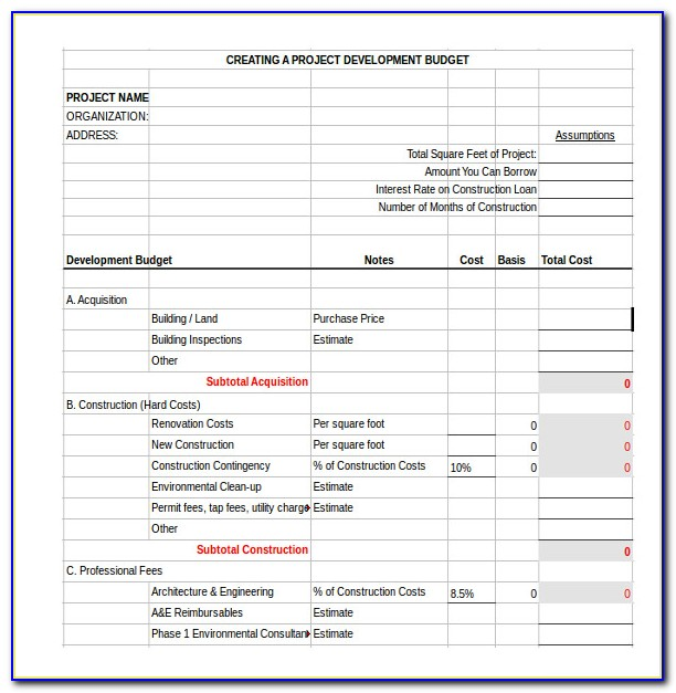 Residential Construction Budget Template Excel Uk
