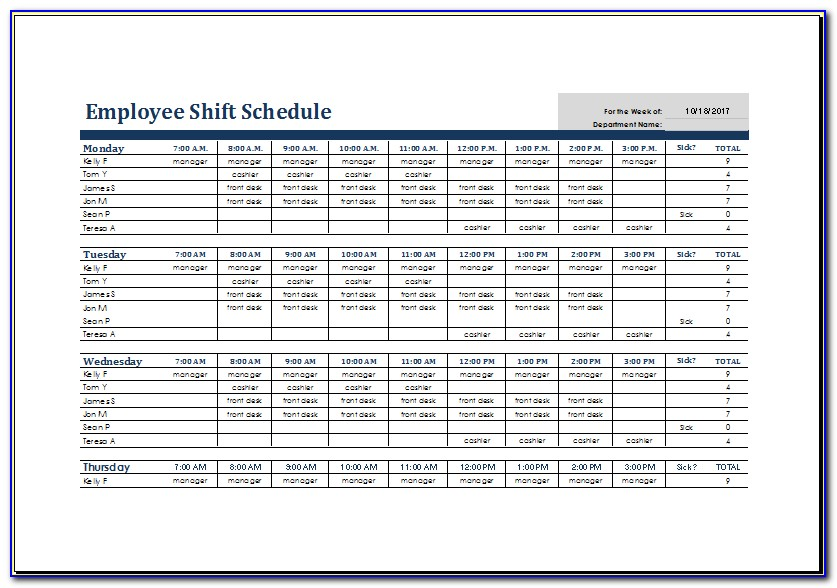 Rotating Shift Schedule Examples