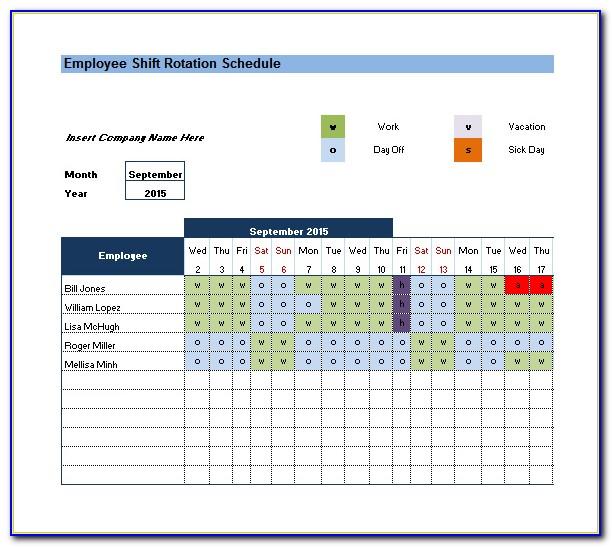 Rotating Shift Schedule Template Xls