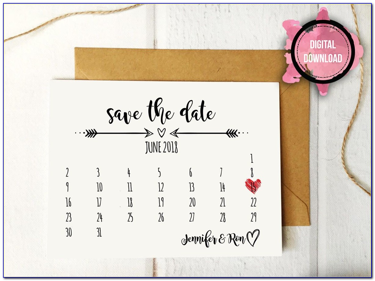 Save The Date Calendar Template 2018