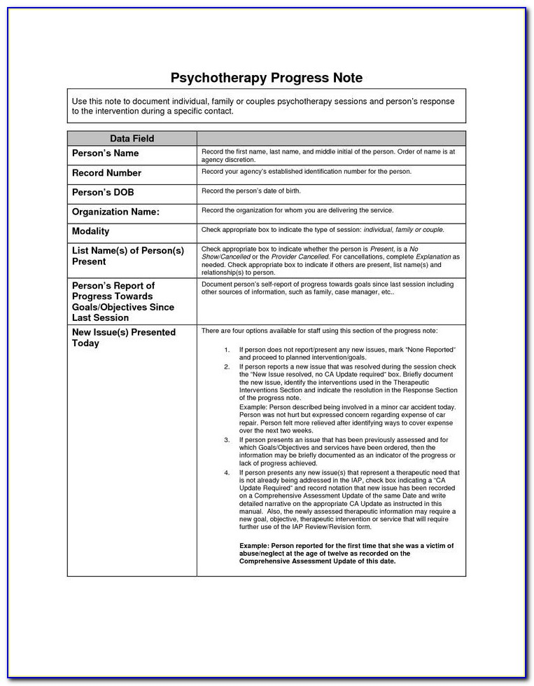 School Counselor Progress Note Template