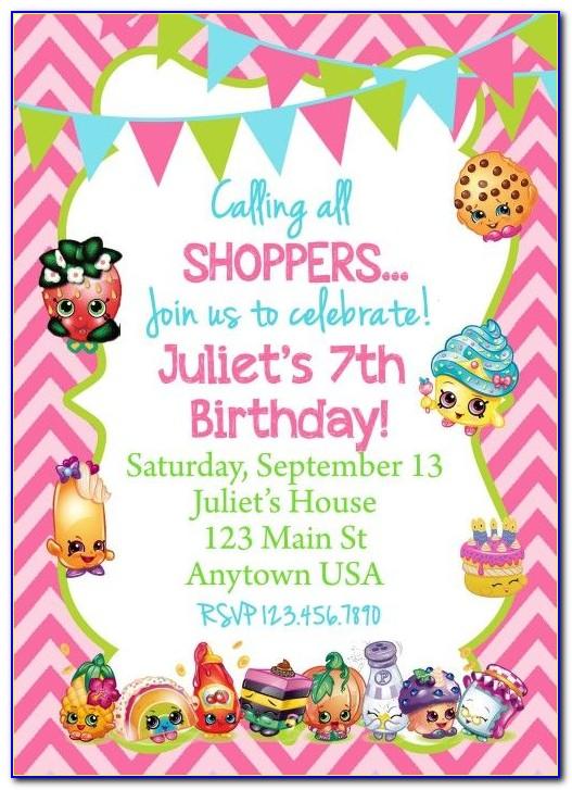 Shopkins Invitation Card Template