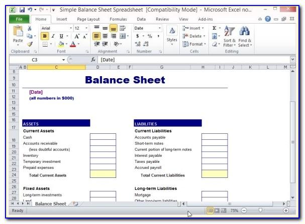 Simple Balance Sheet Template Google Sheets
